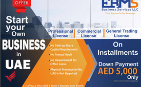 Start your business in UAE on Installment Down payment AED 5,000